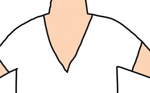 非モテファッション(胸元が開きすぎたVネック)